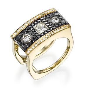 Кольцо с черными бриллиантами 152187М
