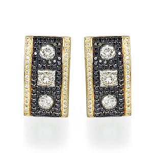 Серьги с черными бриллиантами 153607M