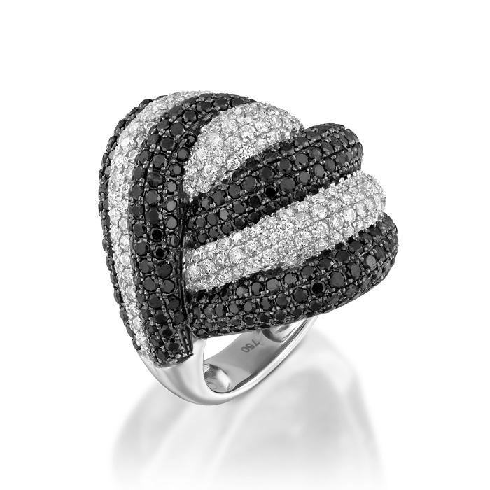 Кольцо с черными бриллиантами 169860С