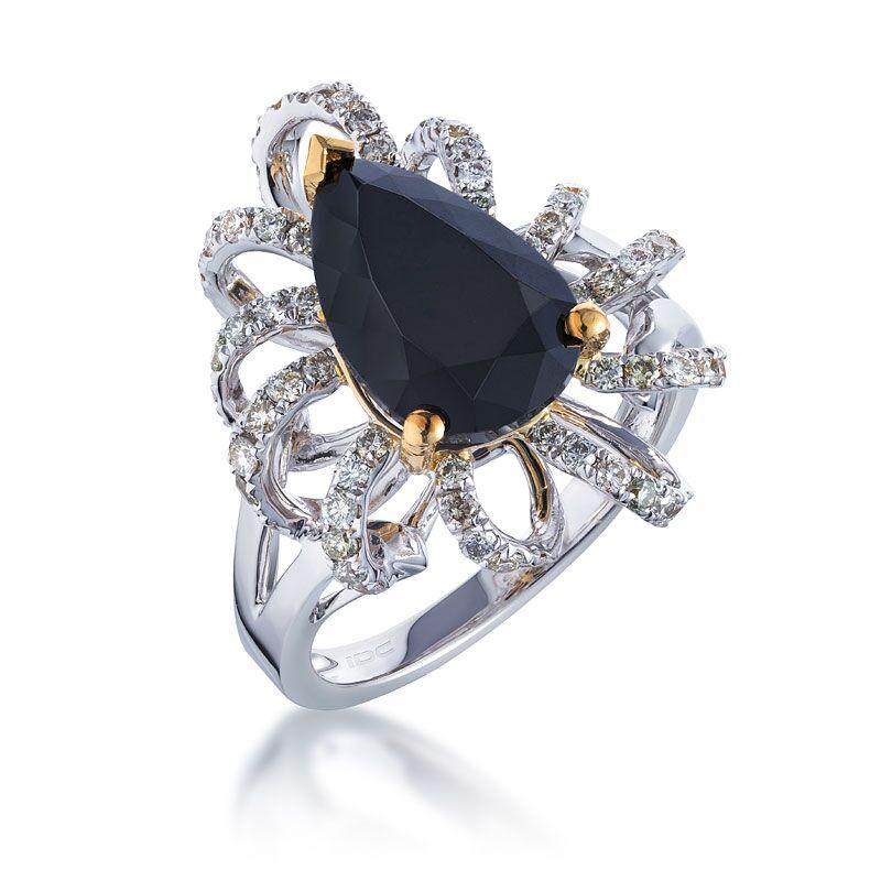 Кольцо с черным бриллиантом 183248