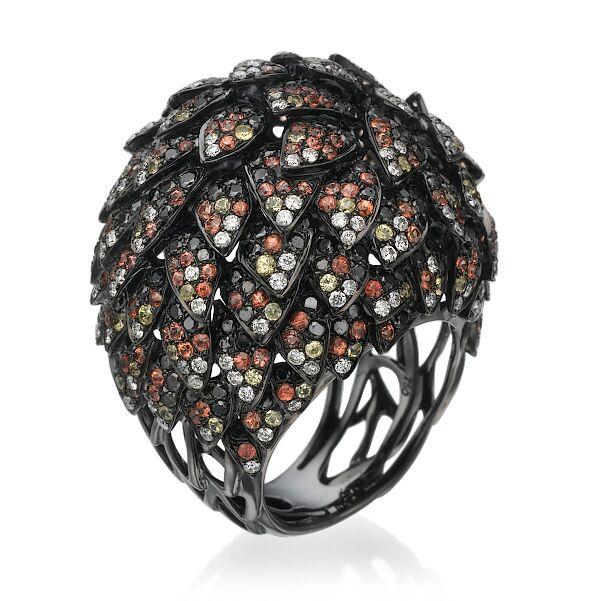 Кольцо с черными бриллиантами 181190