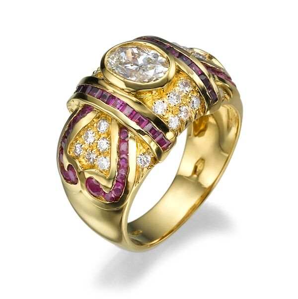 Кольцо с рубинами 18935